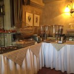 extensive breakfast buffet. cereals, yogurts, bread and pastries.