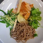 Earl grey smoked trout with green tea noodles, cucumbers and soy dressing... Soo fresh!
