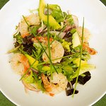 Monsoons Famous Succulent Pan Seared Chilli and Tiger Prawn Salad mixed with Avocado and Olive O