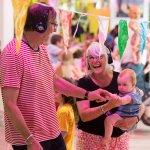 A family enjoying the Boogie Woogie Baby - daytime disco at bOing! International Family Festival