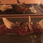 Tuna tartare (front) and steak tartare (back) - fresh and nicely spiced