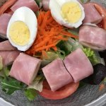 Chef Salad: Ham, Turkey, Provolone Cheese, and Boiled Egg top the House Salad