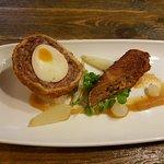 50-50 share of Scotch Egg / Pork Croquette starters