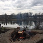View of lake fromoutdoor firepit.