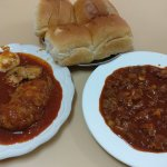 Chicken Vindaloo and Pork Sorpotel with bread.