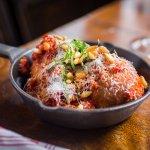 Mozzarella stuffed meatballs. A Square specialty