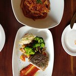 oxtail ragout and pan-fried sea bass