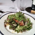 Edwins Salad with Greens, Poached Pears, Bacon, Mushrooms, & Shaved Parmesan with Cider Vinagret