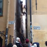 Zenad on the old town tour, at the narrowest street in the city