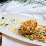 A guest favorite: Crabcake with katafi crust, spring vegetable salad, white French dressing