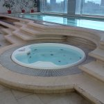 Hot tub and Lap pool on the top level