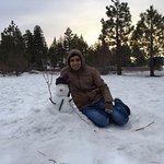 Me with Snow man in big bear lake