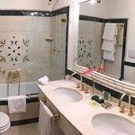 marble-lined bathroom