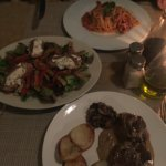Wonderful beef filet and pasta with tomato sauce and salad!