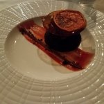 Mussels, filet, chocolate cake