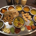 YUM!!!!!! The fully presented thali, awaiting eating!