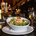 The Apple Matchstick Salad and a glass of Chardonnay