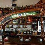 A well-stocked bar, adjacent tot the restaurant.