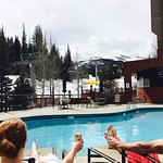Laying out by the slopeside pool!