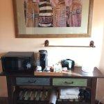 Microwave, Keurig Coffee Maker w/ Coffee, Tea, creamers & Sugar, etc. Bottled Water, Extra Towel