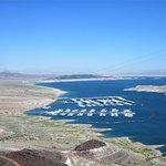 View of a marina on Lake Mead