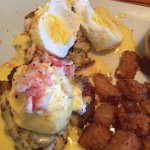Eggs Benedict more like boiled eggs on the over salted crab cakes :(