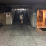 The steep parking garage ramp