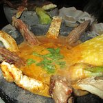 Hot volcanic pot with beef.