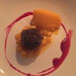 Dessert - mango sorbet with cut mangos and poppy seed donut