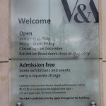Opening times and admissions info to V&A