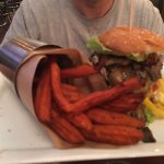 Mushroom burger and sweet potato fries