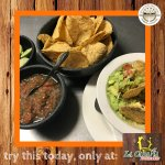 Our famous guacamole & salsa with a side of chips.
