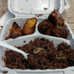 Fried Pork Chunks, Black Beans & Rice, and Fried Plantains