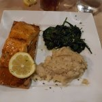 Cedar planked salmon with sauteed spinach
