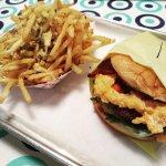 Hee Haw burger and garlic parm fries
