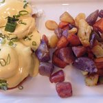 Eggs Benedict with 'hash browns'