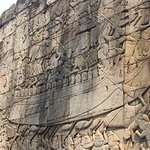 One of the large bas reliefs at Bayon Temple