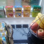 Great choice of branded fruit teas and a fresh bowl of good quality fruit.