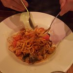 Delicious seafood linguine, they're definately not shy with the seafood.