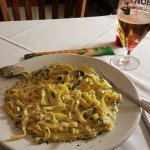 Tagliatelle with chicken, spinach and Garlic finished with rich cream