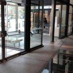 Inside the entrance, glass floor, reception, front desk