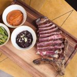 Rib eye steak / sweet potato puree with coriander and lime / black rice with young onions