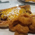 Chili dog and onion rings