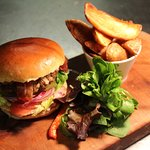 Homemade burger with handcut chips