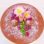 Raw chocolate cake with almonds and orange oil