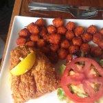 Deep fried fish fillet, sweet potato nuggets.