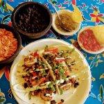 Baha Shrimp Tacos, Rice, Beans, Fresh Salsa