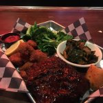 Had another fun and delicious dinner at One Hot Mamas. Wings, Panko Shrimp and rib combo dinner-