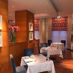 Hart's award -winning restaurant - refurbished in 2015 is just across the courtyard
