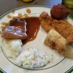 Roast w mashed potatoes and gravy, Fried Fish, Baked Fish, cole slaw and hushpuppy